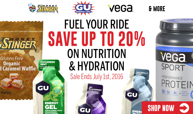 Fuel Your Ride - Save Up to 20% on Nutrition & Hydration - Sale Ends July 1, 2016