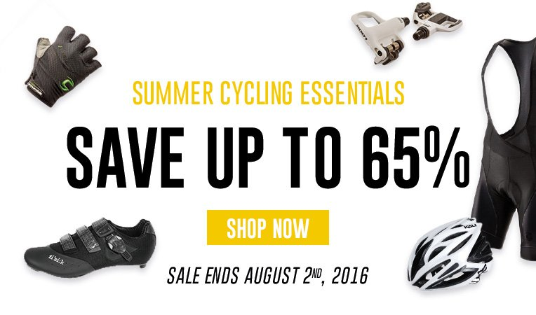 Summer Cycling Essentials - Save Up to 65% - Sale Ends August 2, 2016