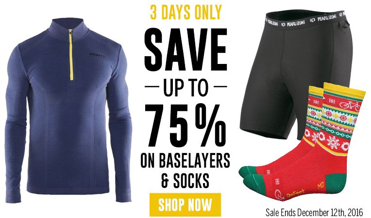 3 Days Only - Save Up to 75% on Baselayers & Socks - Sale Ends December 12, 2016